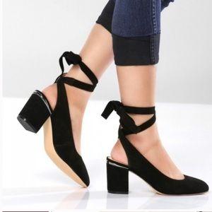 Nine West   Andrea Suede Ankle Wrap Heels